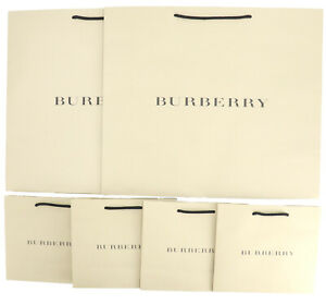 BURBERRY Empty Shopping Gift Paper Bag 6P Set Large Small Ivory -68