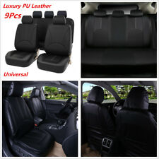 9Pcs Black Breathable PU Leather Standard Auto Car Seat Protector Covers Ful Set