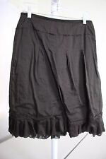 Ann Taylor 100% Cotton Brown Knee Length Lined A-Line Ruffled Skirt Size - 8