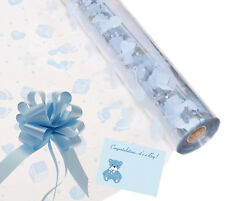 Baby Boy Cellophane Gift Wrap Baby Shower + FREE Pull Bow, Curling Ribbon & Card