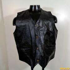 Leather Motorcycle Biker VEST Mens Size XL Black western patchwork
