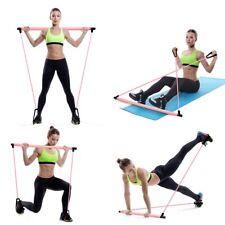 Pilates Yoga Bar Kit Resistance Trainer Band Toning Exercise Stick Fitness Sport