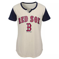 Boston Red Sox Girl's In The Game Pinstripe T-Shirt, Cream, Size Small (6/6x)