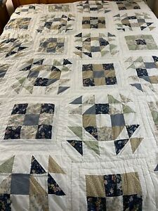 """Vintage Hand Quilted Nine Path & Crown Of Thorns Quilt 102"""" x 90"""" King #855"""