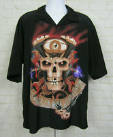 Rockhouse Roadhouse Skull Biker Shirt Sz 2XL Black Button Shop Mechanic Mens