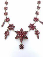 Antique Victorian Bohemian Garnet Starburst Necklace w/ Pendant Brooch Holder