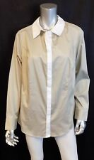 LANE BRYANT NEW Taupe Brown/White Colorblock Button Front Blouse Plus sz 26W
