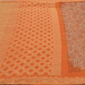 Sanskriti Vintage Orange Sarees Pure Silk Hand-Woven Printed Sari Craft Fabric