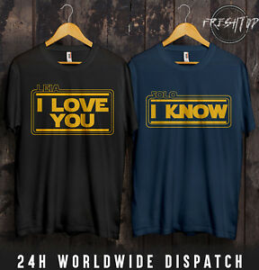 Star Wars Leia Solo I Love You I Know T Shirt Valentines Day Couple Matching