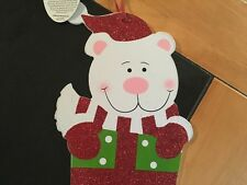 Festive Polar Bear Christmas Decoration Hanging Wooden Plaque With Bell