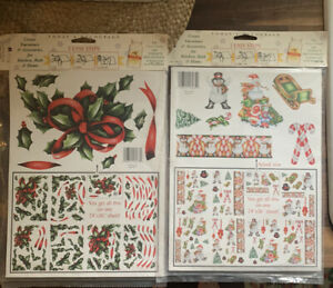 Lot of two Nip vintage craft packets for decoupage Christmas themed