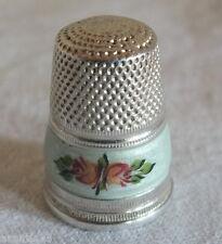 dé à coudre argent émaillé antique silver thimble couture