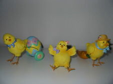 Set Of Three Easter Chicks With Egg Resin Figurines