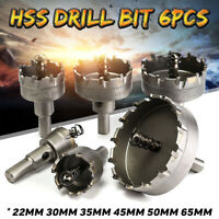 6Pcs HSS Carbide Tip Drill Bit Hole Saw Cutter Set Metal Tungsten Steel