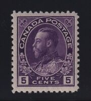 Canada Sc #112a (1924) 5c violet Admiral Thin Paper Mint VF NH