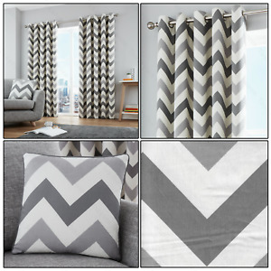 Grey Silver Chevron Zig-Zag Geometric Print Lined Eyelet/Ring Top Curtains Pair