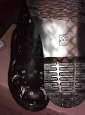 DR MARTENS DAY OF THE DEAD DIA DEL MUERTOS SKULL LEATHER BOOTS SIZE 4 EU 37 NEW