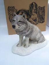 Sandra Brue Sandicast Large Vintage Snow Wolf Statue #301 with Orig Box USA Made