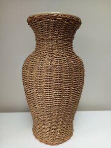 Large free standing Wicker Rattan Ornament Vase Vintage Retro 40Cm