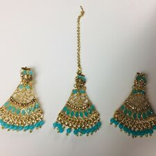 Pakistani Ferozi Earings Tikka Jewellery, Indian Golden Wedding Jewelry