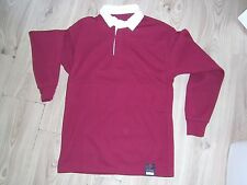Plain Rugby Long Sleeve Jersey Rugby Shirt Top Men's BURGUNDY 34-36 Chest