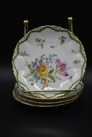 "(4) Dresden German Hand Painted Flowers Green & Gold 6"" Bread Plates"
