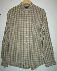 LANDS' END Men's Casual Brown Mix Check Cotton Long Sleeve Shirt Pocket Size L