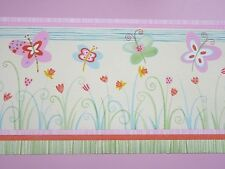 Bordüre RASCH  Kinderzimmer Blumen Schmetterlinge 259 506  grün rosa Borte NEU*