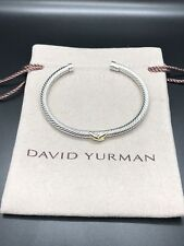 David Yurman X Bracelet 4mm with 18k Gold Size Small