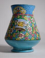 Longwy Vase with Flowers & Fans