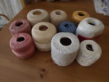 LOT OF 10 MERCERIZED COTTON THREADS CROCHET CRAFT NEW AND VINTAGE