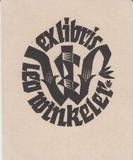 Ex-libris Leo WINKELER gravé sur bois par Peter WOLBRAND.