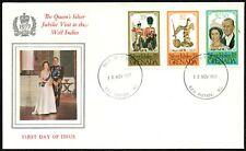 """Grenada, 1977 Queens """"Silver Jubilee visit to West Indies"""" illustrated FDC."""