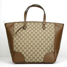 New Gucci Large Bree Beige/Ebony GG Canvas Leather Tote Bag w/charm 449242 8610