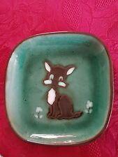"Vintage Guernsey Studio Art Pottery Dish Dog Design 6 3/4"" x 6 3/4"" Free UK P&P"
