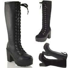 Ladies Knee High Chunky Cleated Platform Womens Goth Combat Lace Up Boots