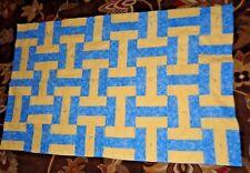 "Handmade Yellow/Blue Lap Quilt/Throw 41""x 65"""
