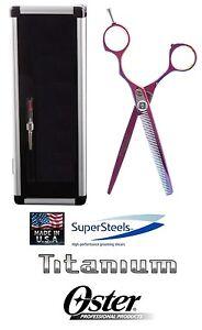 Oster SUPERSTEELS TITANIUM PINK 45 Tooth THINNING BLENDING SHEAR Scissor&CASE