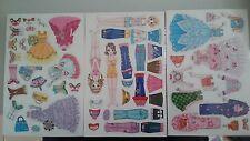 Defect Girls Princess Kids Fridge Magnet Set - Magnetic Dress Up Dolls 3 Sheets