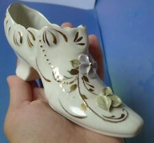 Old Porcelain Collectibles Shoe high heel figurine with gold trim flower hand pa