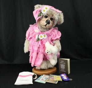 OOAK Handmade Teddy Bear 1995 Jewel Lewis Moulded Felt w/Signed Passport, Extras