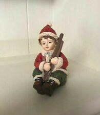 Christmas ornament Vintage Boy Holding Ski's RED