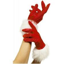 Short Red Santa Gloves Miss Ms Mrs Claus Fancy Dress Christmas Costume Accessory