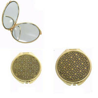 Damascene Gold Compact Mirror Geometric Design by Midas of Toledo Spain 8554