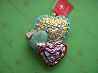 Valentine Christopher Radko Cookie Hearts Glass Ornament