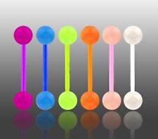 Nuevo lote 6 x Flexi brillo en la oscuridad lengua barras perforación Flexible barra vendedor de Reino Unido