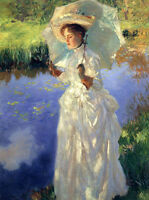 Art Oil painting John Singer Sargent - Landscape woman Morning Walk canvas