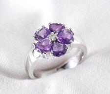 Genuine Purple Amethyst Topaz Heart Ring 2.33ct 925 Sterling Silver Size 8