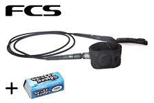 FCS 6' Black Freedom Surfboard Leash + Free Wax Bit Bar