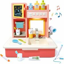 Pretend Play Sink Toy for Kids Set Electric Vanity Sink with Running Water Music